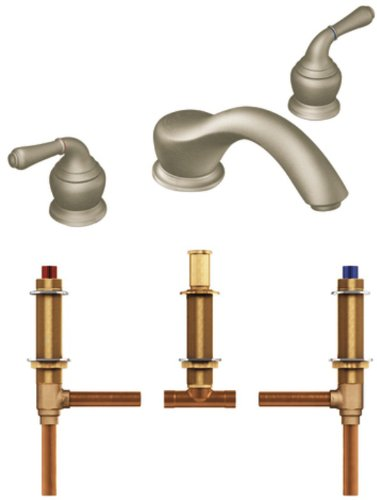 Moen T951BN-4792 Monticello Two-Handle Low Arc Roman Tub Faucet with Valve, Brushed Nickel ()