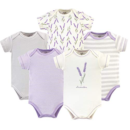 Set Sets Infant - Touched by Nature Unisex Baby Organic Cotton Bodysuits, Lavender 5 Pack, 3-6 Months (6M)