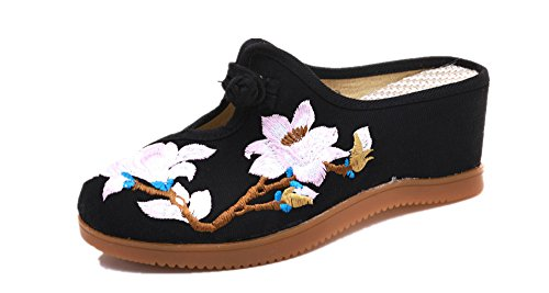 amp; Sandal Tianrui Crown The Pear Ladies Black Women Embroidery Causal Blossom Shoes Slipper wZgqEz