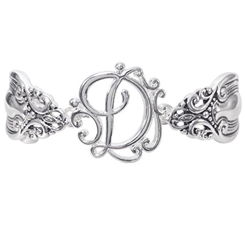 (Gypsy Jewels Spoon Handle Style Monogram Initial Silver Tone Magnetic Clasp Bracelet (Letter D))