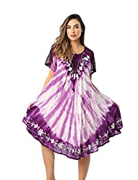 Riviera Sun Tie Dye Summer Dress with Raglan Eyelet Sleeve & Embroidery