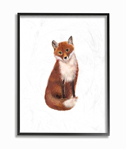 Stupell Industries Red Fox Watercolor Illustration Oversized Framed Giclee Texturized Art, 16 x 1.5 x 20, Proudly Made in USA