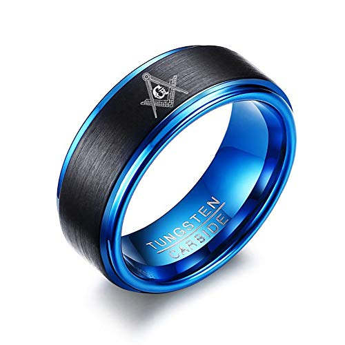 Men's Tungsten Carbide Masonic Symbol Ring Wedding...