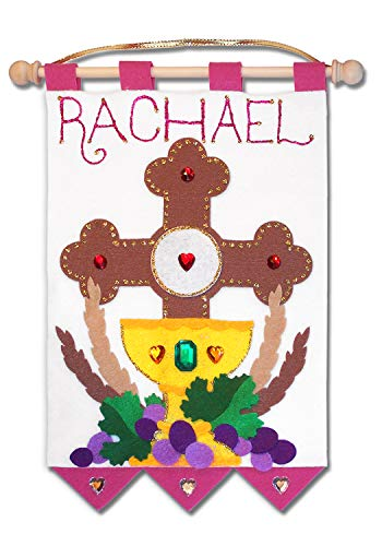 First Communion Banner Kit - 9 x 12 - Cross - Pink]()