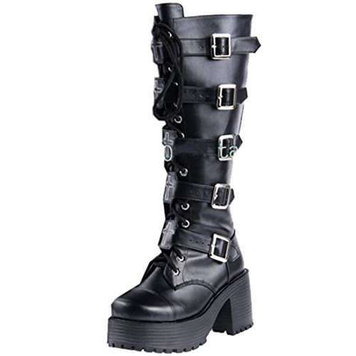 Partiss Damen Round Toe Lace up Zipper High-top PU Lolita Boots Lolita Stiefel Prinzessin Boots Schlupfstiefel 1