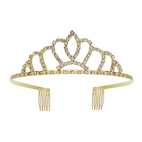 Gold Tiara Headband Metal Crystal Queen Crown Royal Sash for Little Girls]()