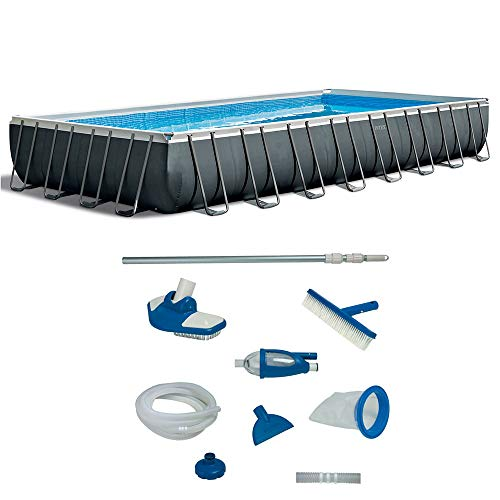 Intex 32 Foot Ultra XTR Rectangular Pool Set with Deluxe Maintenance Kit (Intex Ultra Frame)