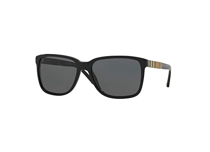 Amazon.com: Burberry BE4181 300187 58M Black/Grey Square ...