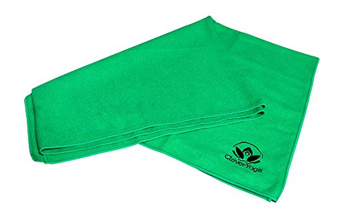 Clever Yoga Anti Slip Mat Towel Made With The Best, Durable Microfiber - Comes With Our Special NamasteWarranty (Green 72'x26.6' MatTowel)