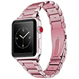 baozai Compatible with Apple Watch Band Stainless Steel, Business Replacement iWatch Band for Series 3Series 2 Series 1 Sport and Edition (38mm Rose Gold)