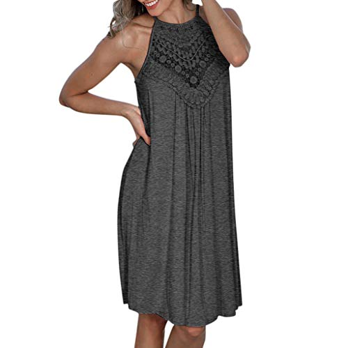 Aniywn Women Beach Casual Dress Halter Backless Mini Dress Knee-Length Loose Dress Sundress (S, Gray)