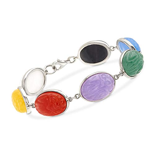 Ross-Simons Multicolored Jade Scarab Bracelet in Sterling Silver