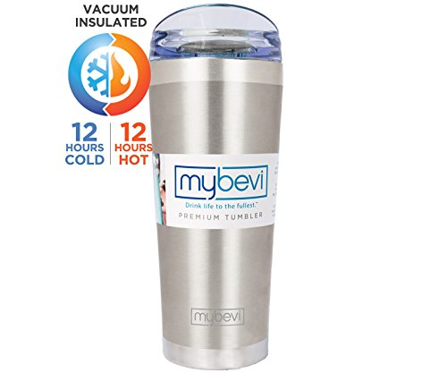 MyBevi Stainless Steel Premium Grade Insulated Travel Tumbler 26 oz - (Brushed Steel) ()