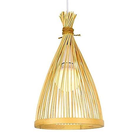 Araña Iluminación Colgante Luz Lámpara Bambú Mimbre Jaula De ...