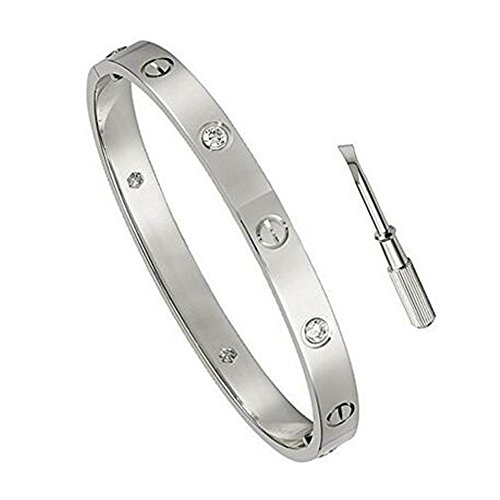 K.Klemm Women's Fashion Mosaic Crystal Love Bracelet - Screws Designs Titanium Steel Bracelets - Gift Box Packaging (Silver, ()