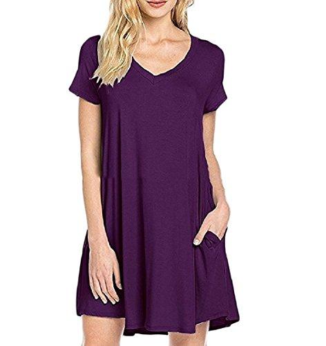 Couleur Unie Des Femmes Coolred Manches Courtes V Cou Robe Douce Confort Violet