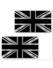 Biomar Labs® 2 stuks zilver vinyl Gross Verenigd Koninkrijk Great Britain Engeland UK vlag sticker autosticker auto moto motorfiets helm raam tuning B 256
