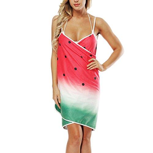 Floreale Donne Senza Vestito Spiaggia Cinghia Spaghetti Stampata Coprire Avvolgente Di Schienale Rosso Gyljp UUnw1qxB