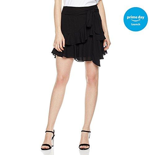 Plumberry Women's High Waisted Ruffle Pleated Asymmetrical Hem Chiffon Mini Short Skirt With Knot Belt Large Solid (Hem Mini Skirt)