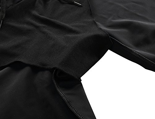 Hilor Women's UV Rash Guard Pants Crop Swim Leggings Sports Capri Tights 14 Black 1 by Hilor (Image #4)