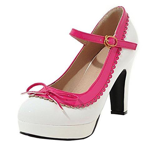 Chaussures Vintage Avec Platform High Mary Chunky Jane des Heels UH Bow Rose Escarpins Heel Rockabilly Femmes 1OxpUqPw