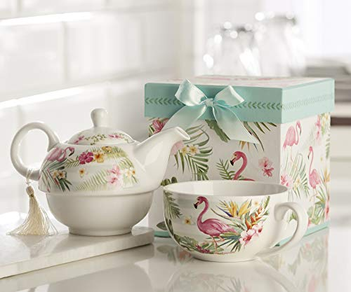 China Dishes Discount (Giftcraft Bone China Tea Set for One in Gift Box, Flamingo Design)