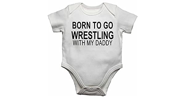 Born to Go Wrestling with My Daddy Personalised Cotton Baby Bib for Boys /& Girls