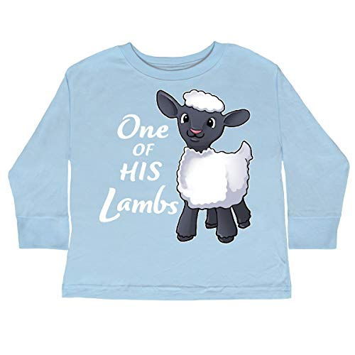 inktastic - One of His Lambs- Toddler Long Sleeve T-Shirt 4T Light Blue - T-shirt Lamb Light