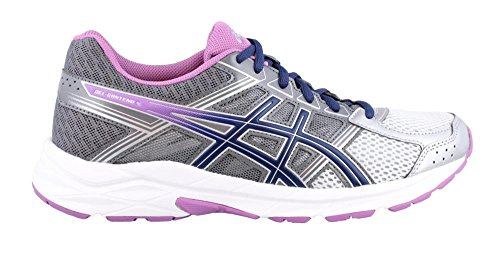 ASICS Women's Gel-Contend 4 Running Shoe, Silver/Campanula/Carbon, 7.5 D US