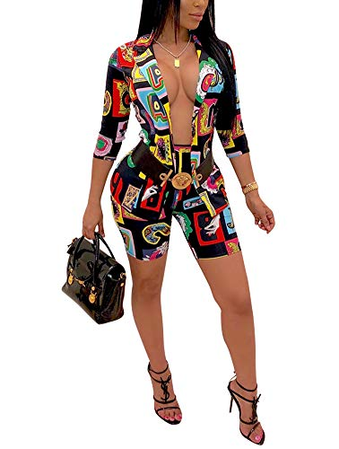 Two Piece Outfits for Women - Sexy Color Blocked Blazer and Skinny Shorts Set Without Belt X-Large Black (Belt Set)