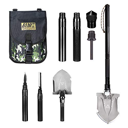Wanlusha Folding Shovel, Portable Military Shovel with Tactical Waist Pack, Trench Entrenching Tool, Multi-Function Survival Kit for Outdoors Sporting - Black by Wanlusha (Image #7)