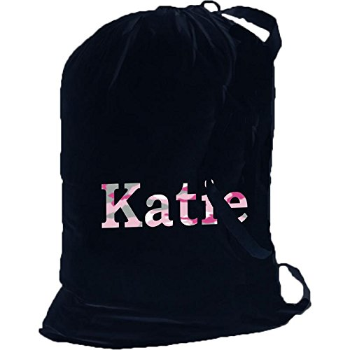 Key Your Spirit KYS Personalized Pink Camouflage Cotton Laundry Bag w/Shoulder Strap (Black-Pink)