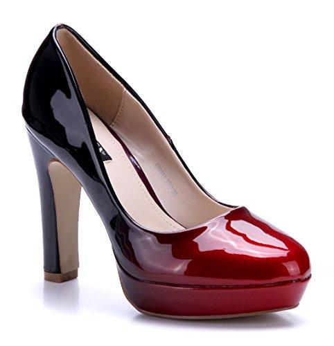 Schuhtempel24 Damen Schuhe Plateau Pumps Blockabsatz 11 cm High Heels Rot