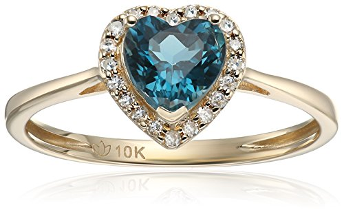 10k Yellow Gold London Blue Topaz and Diamond Solitaire Heart Halo Engagement Ring (1/10cttw, H-I Color, I1-I2 Clarity), Size 7 Blue Topaz Color Solitaire
