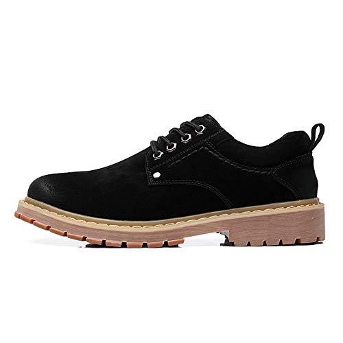 Up Trabajo Cuero Oxfords Vintage Botas Lace 38 Para Hombre Xiazhi Redonda 5 shoes Genuino De Bajo Tacón Negro Punta EqH1nFw