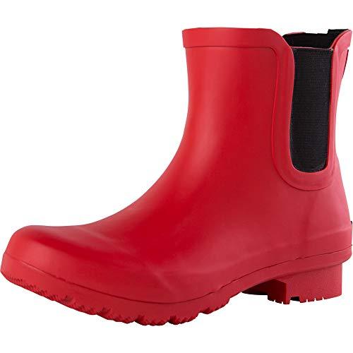 ROMA Women's CHELSEA Rain Boots, matte red, 8 M US