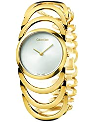 Womens Gold Calvin Klein Body Stainless Steel Watch K4G23526 band color: Gold, Dial color: Silver