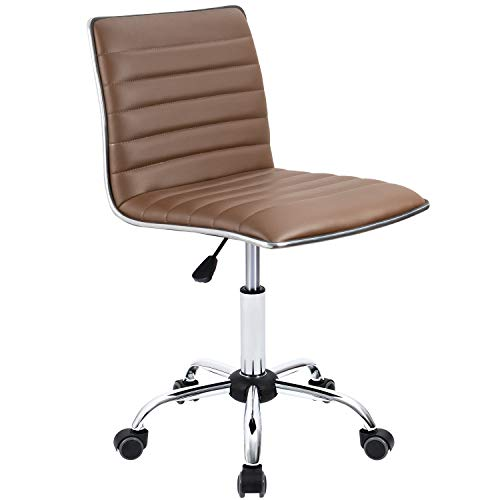 Furmax Mid Back Task Chair,Low Back Leather Swivel Office Chair,Computer Desk Chair Retro with Armless Ribbed (Brown)