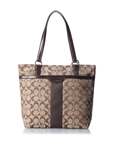 Coach Signature Stripe Tote in Khaki & Mahogany - Style 28504 by Coach