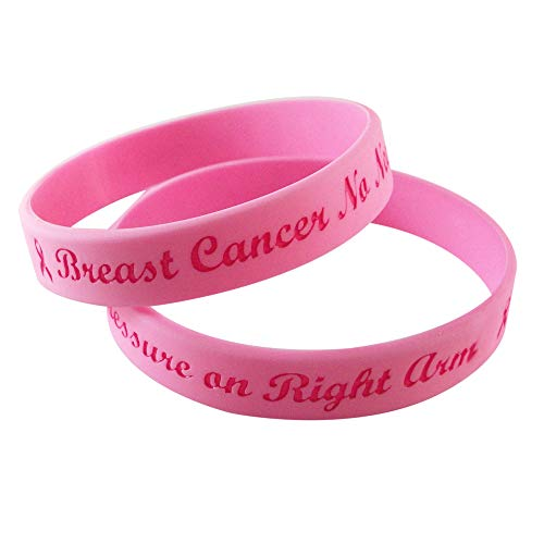 Gadow Jewelry 2-Pack Breast Cancer Bracelets No Needle or Blood Pressure on Right Arm Silicone Pink Awareness