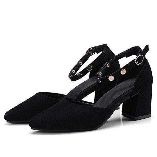 Escarpins Mode RAZAMAZA Pointue Cheville Bride Sandales Ete Femmes Black 5qqWT0