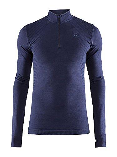 Craft Sportswear Mens Fuseknit Zip Long Sleeve Base Layer Wicking Shirt, Maritime, Medium