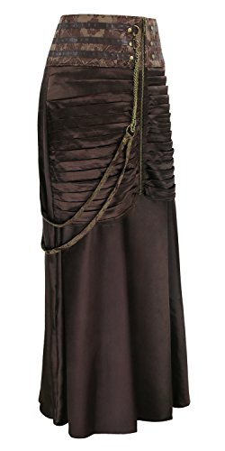 Gothic Waisted Victorian Skirts Ruffled Charmian Women's High Marron Satin Steampunk 1JKlF5uTc3