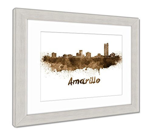 Amarillo Silver Accent - Ashley Framed Prints Amarillo Skyline In Watercolor, Wall Art Home Decoration, Sepia, 34x40 (frame size), Silver Frame, AG6137350