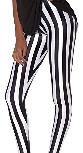 QZUnique Women's Vertical Black And White Stripe Print Shaping Footless Leggings Black Opaque Vertical Stripes