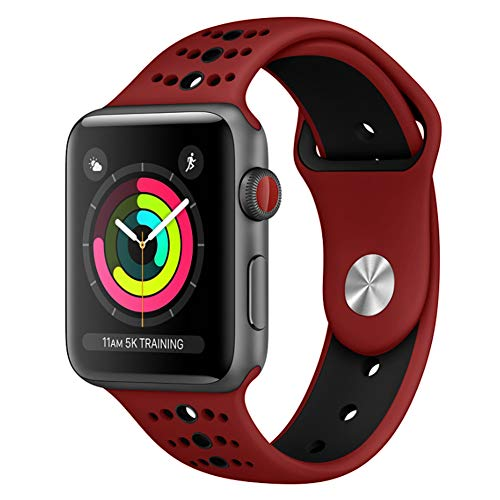 GHIJKL Sports Band Compatible Apple Watch 38mm 42mm, Soft Silicone Replacement iWatch Wristband Compatible Apple Watch Sport, Series 1, 2, 3