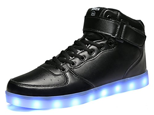 MOHEM ShinyNight High Top LED Schuhe leuchten USB Lade Flashing Sneakers Schwarz-1