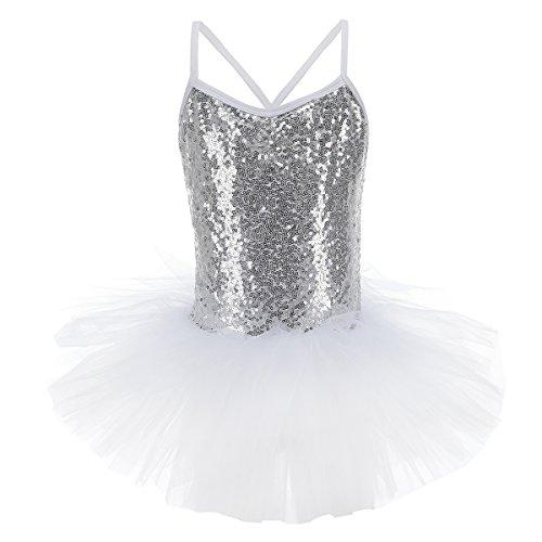 (Toddler Girls Kids Sequin Flower Camisole Gymnastic Ballet Leotard Dance Tutu Dress Sleeveless Skating Fairy Ballerina Princess Dancewear Cross Back Athletic Sports Skirt Costume Silver & White 5-6)