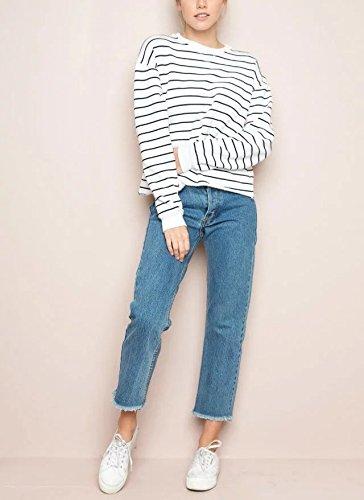 Jeans A Donna Estivi Pantaloni Zipper Alta Strappati Da Vita Skinny Azzurro Fuweiencore TcBSn4dxT