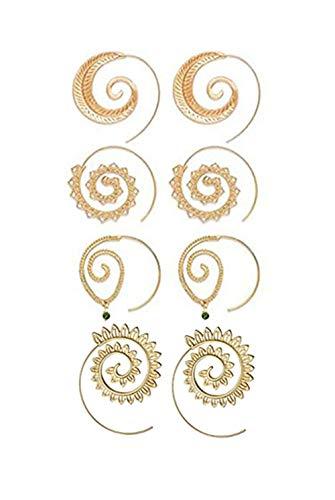 cyntan Dangle Gypsy Hoop Earring Spiral Hoops Earrings Set Vintage Tribal Swirl Earrings for Women 4 Pairs/Set